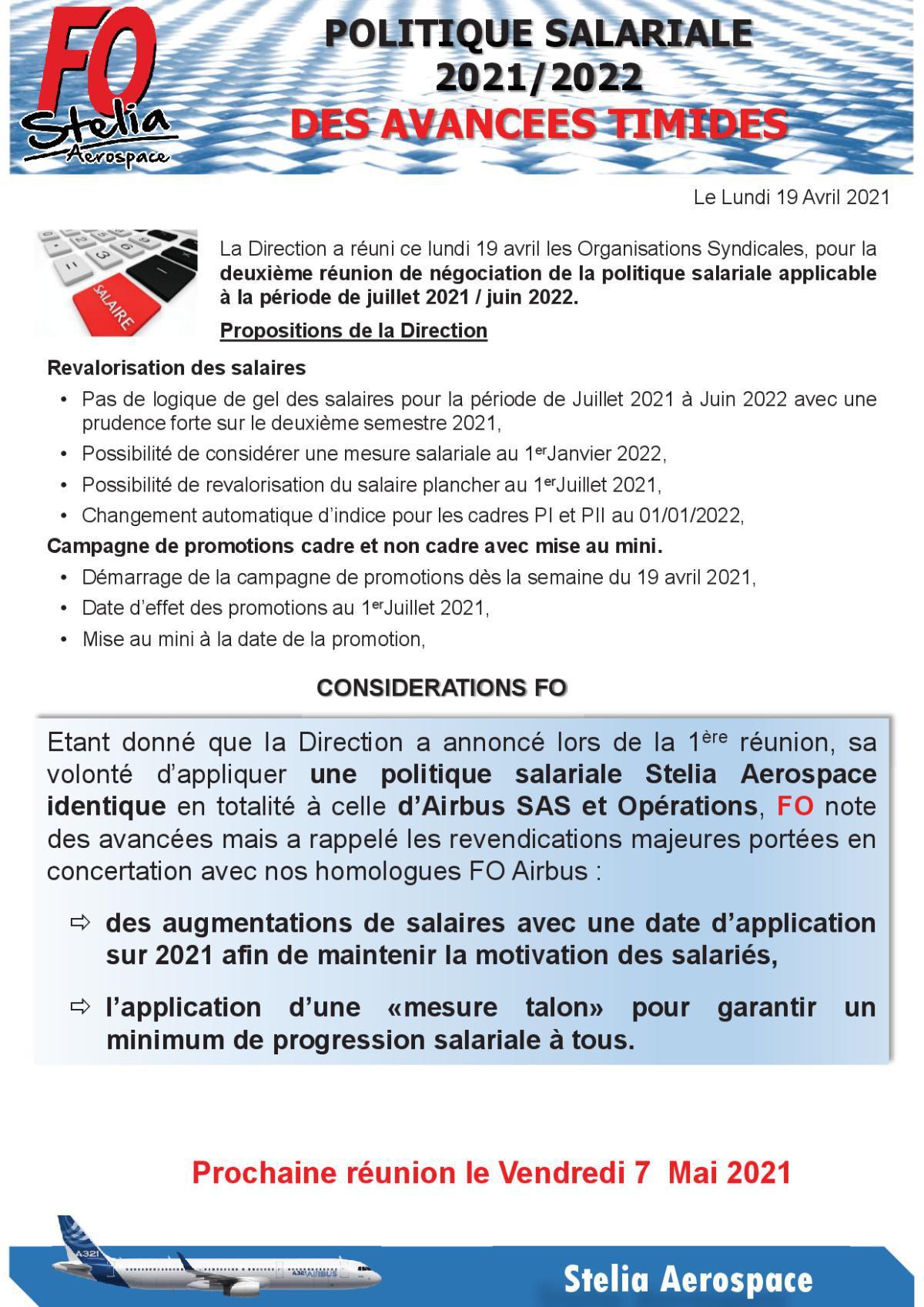 Politique Salariale 2021-2022 - 2ème Réunion