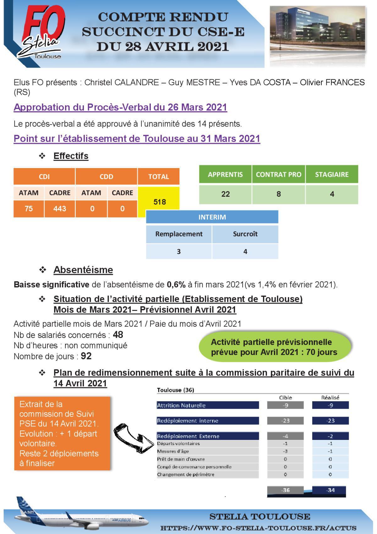 Compte Rendu succinct CSE-E du 28 Avril 2021
