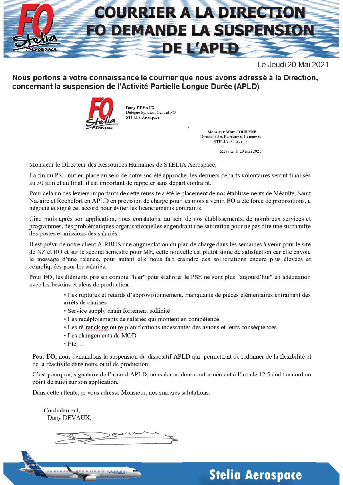 Courrier - FO demande la suspension de l'APLD