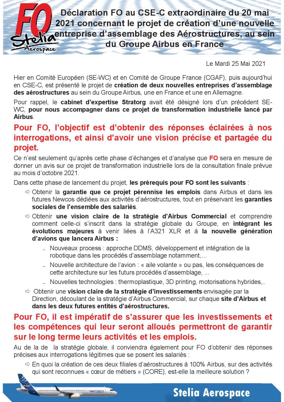 Déclaration FO au CSE-C Extraordinaire du 20 Mai 2021
