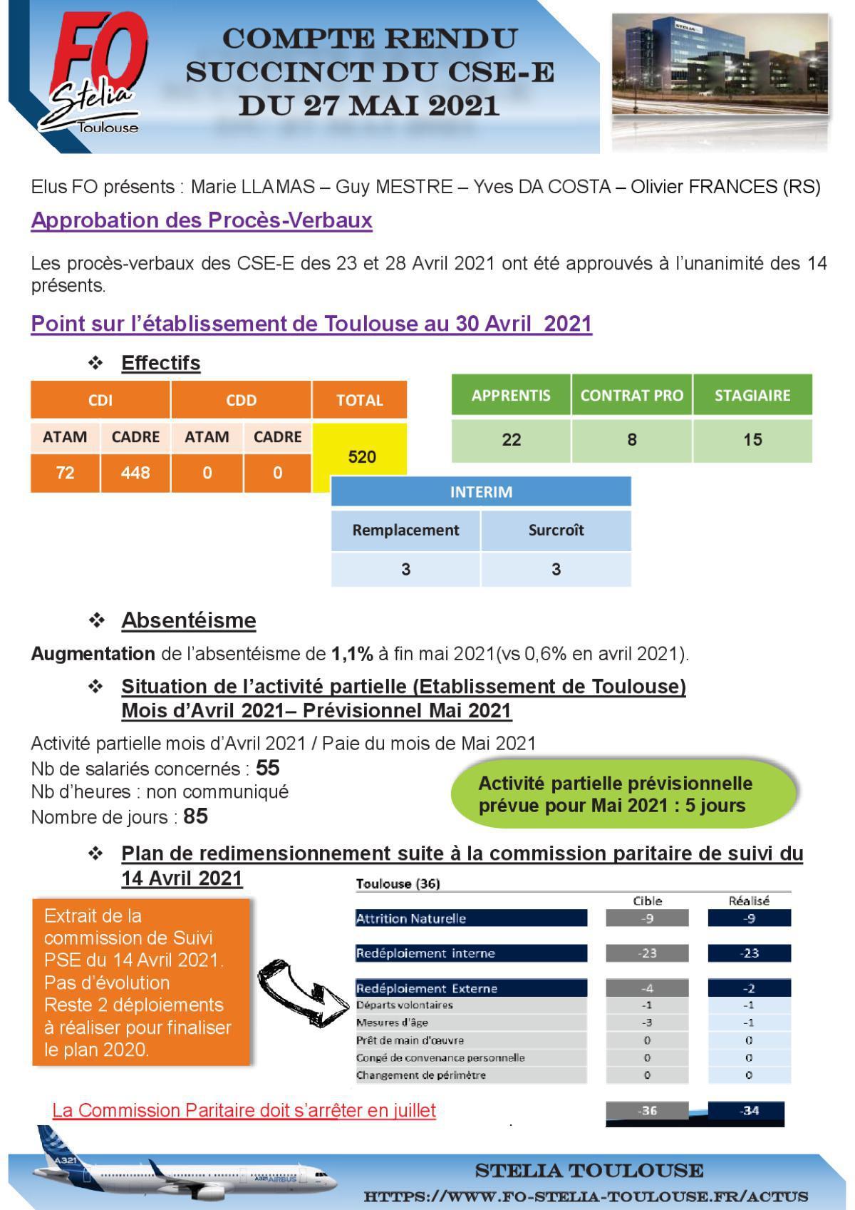 Compte Rendu succinct CSE-E du 27 Mai 2021