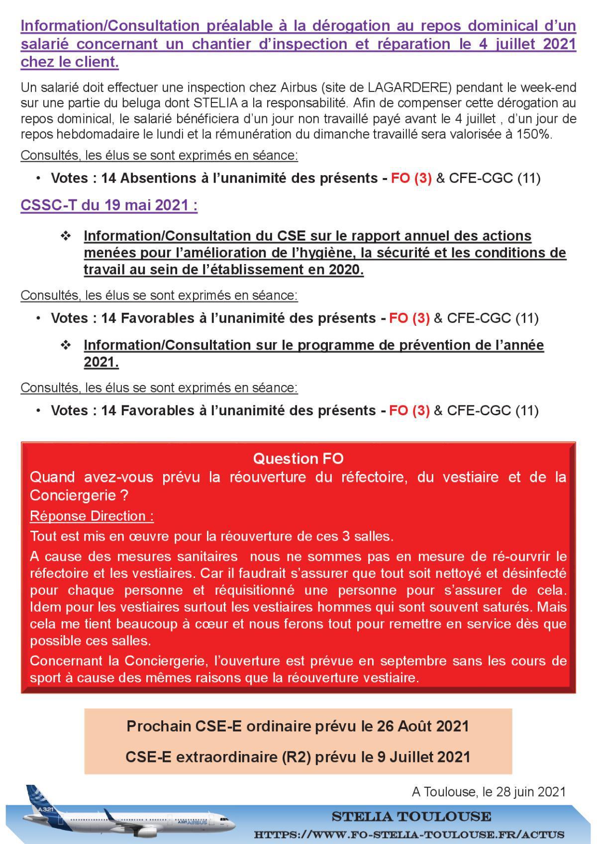 Compte Rendu succinct CSE-E du 25 Juin 2021