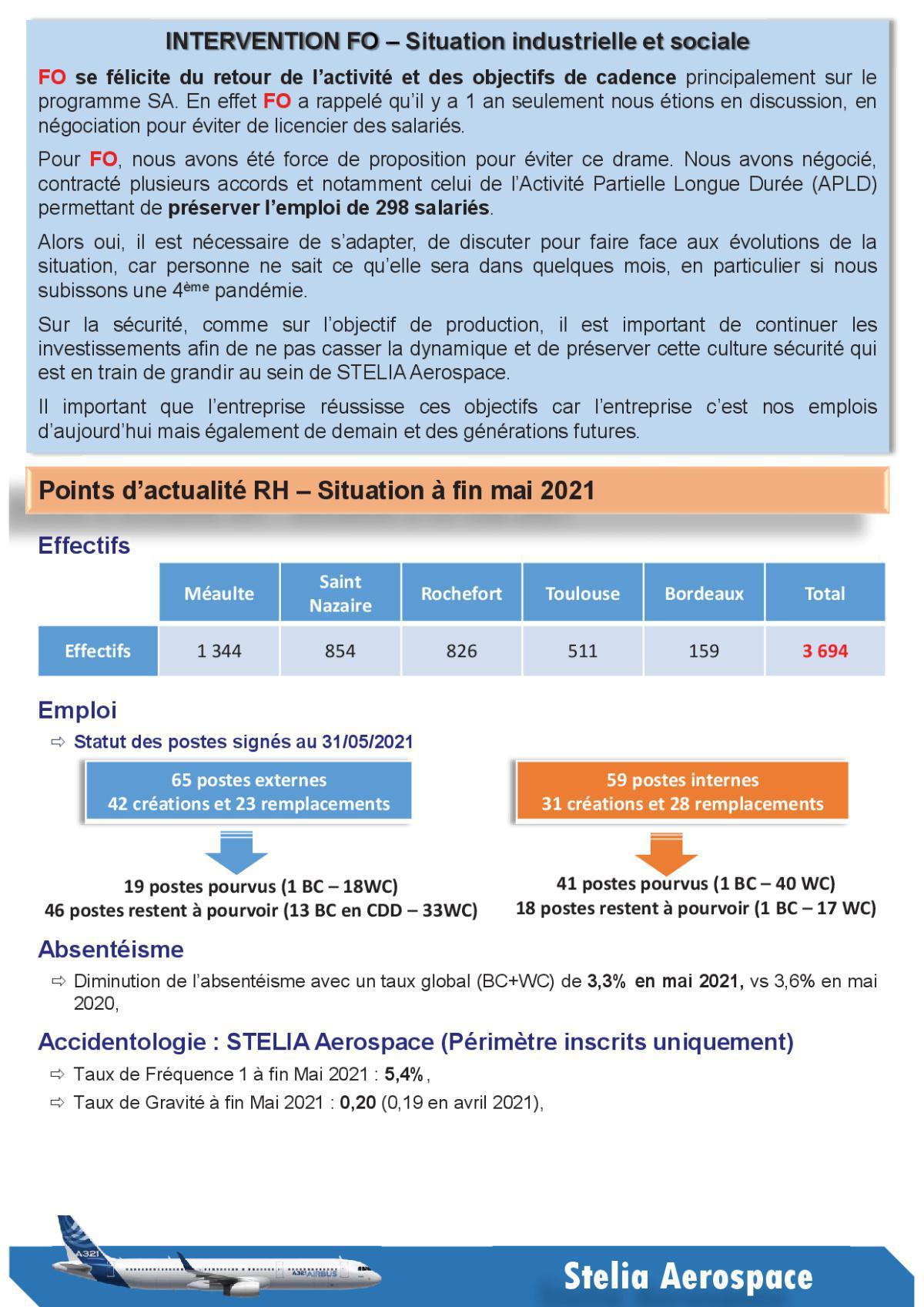 Compte Rendu succinct CSE-C du 22 Juin 2021