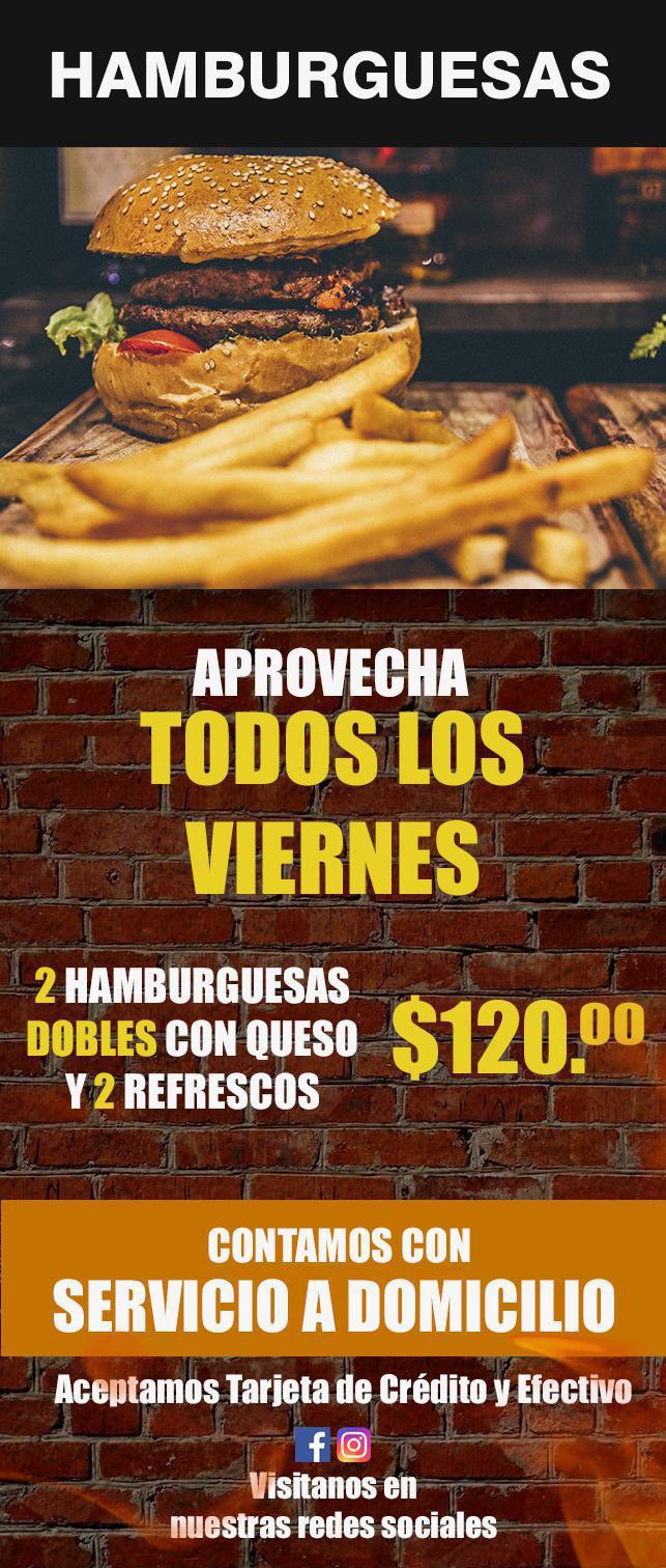 Todos los Viernes aprovecha 2 Hamburguesas dobles con queso y 2 refrescos por $120.00