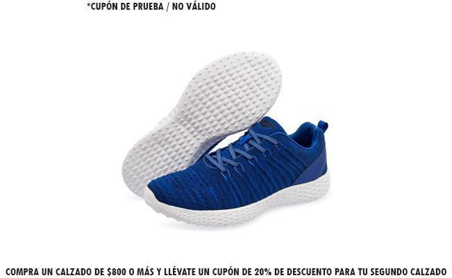 Compra un calzado de $800 o más y llévate un cupón de 20% de descuento para tu segundo calzado