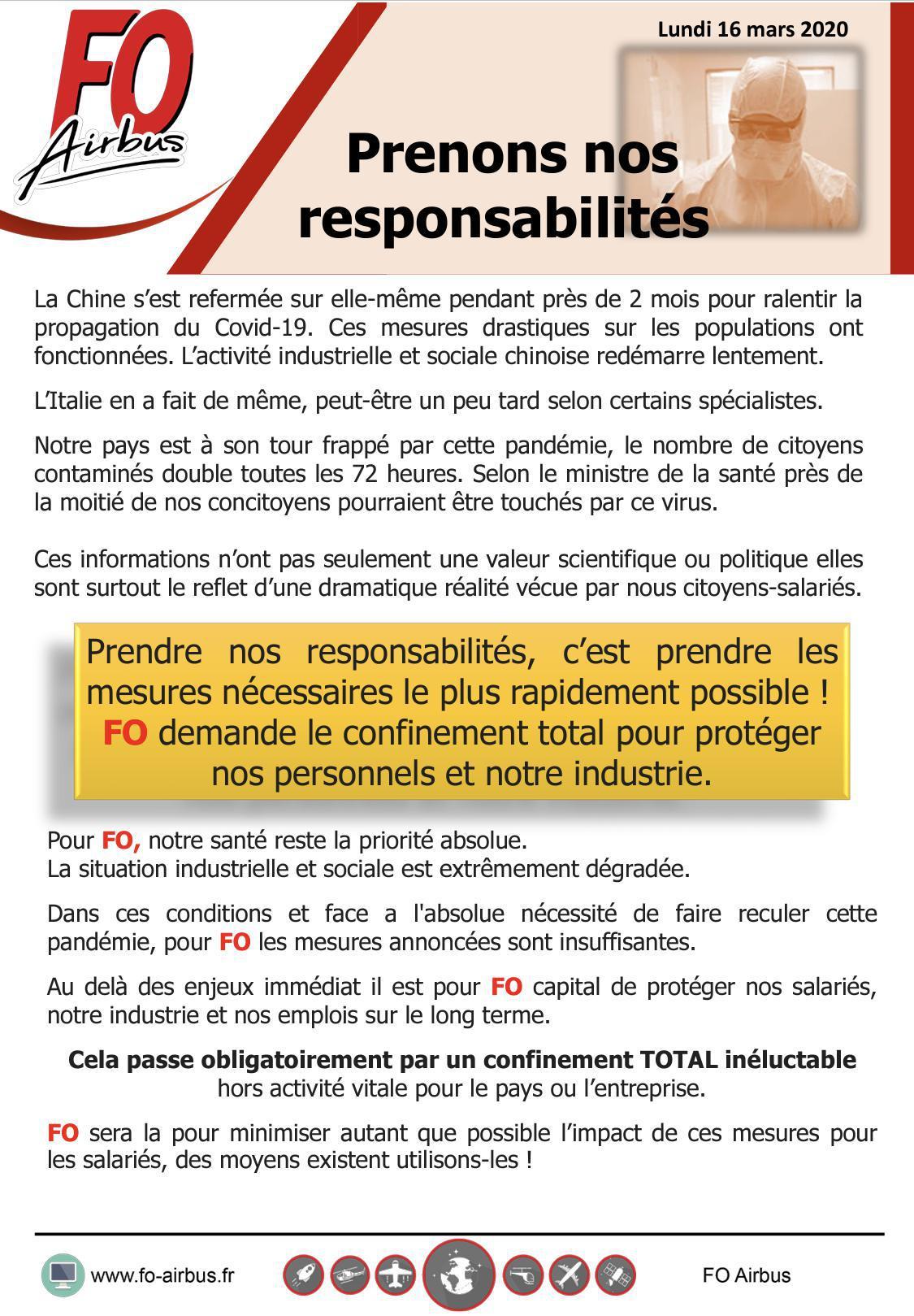 Coronavirus: Prenons nos responsabilités