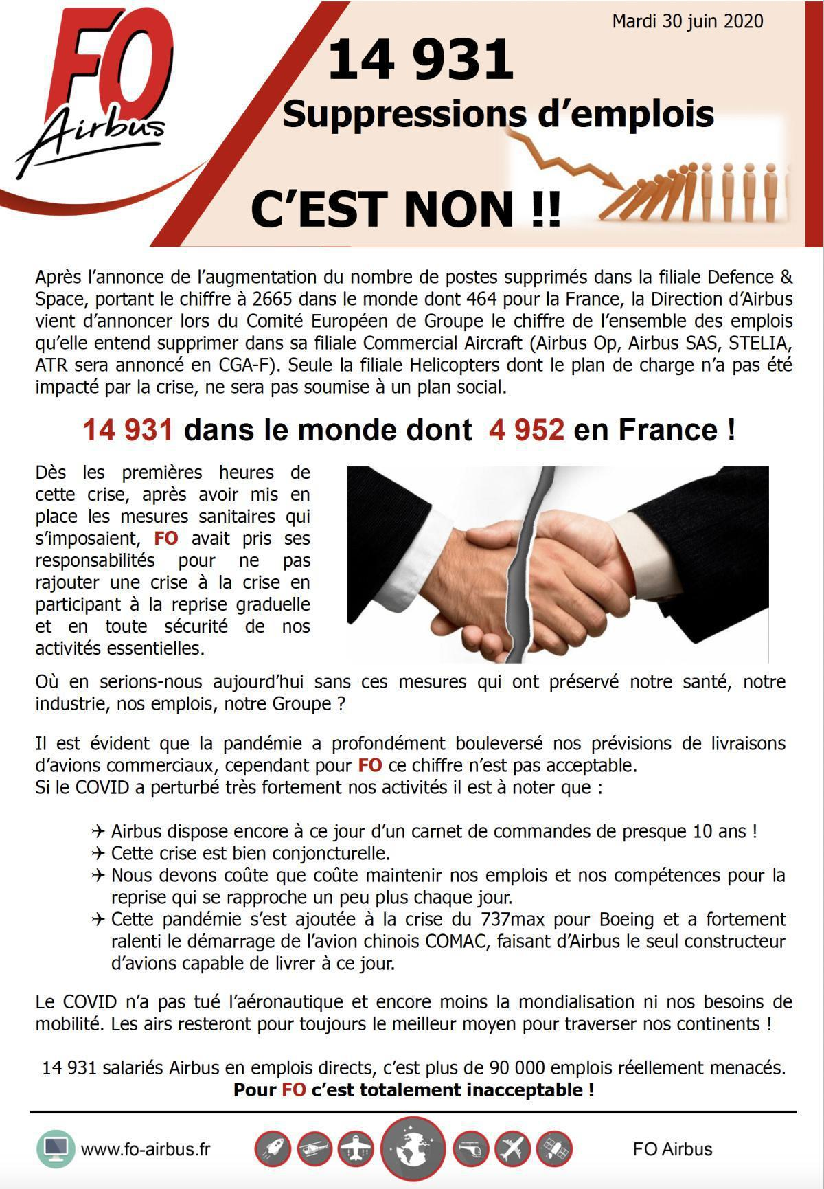 14931 suppressions d'emplois C'EST NON !!!