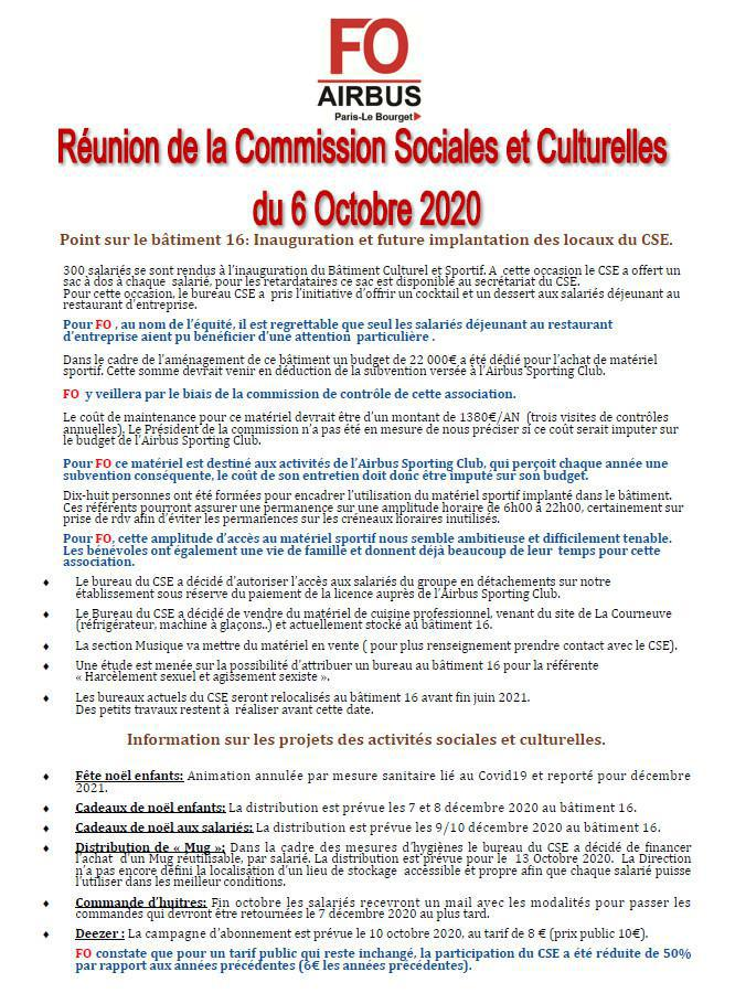 Synthèse commission Activités Sociales & Culturelles