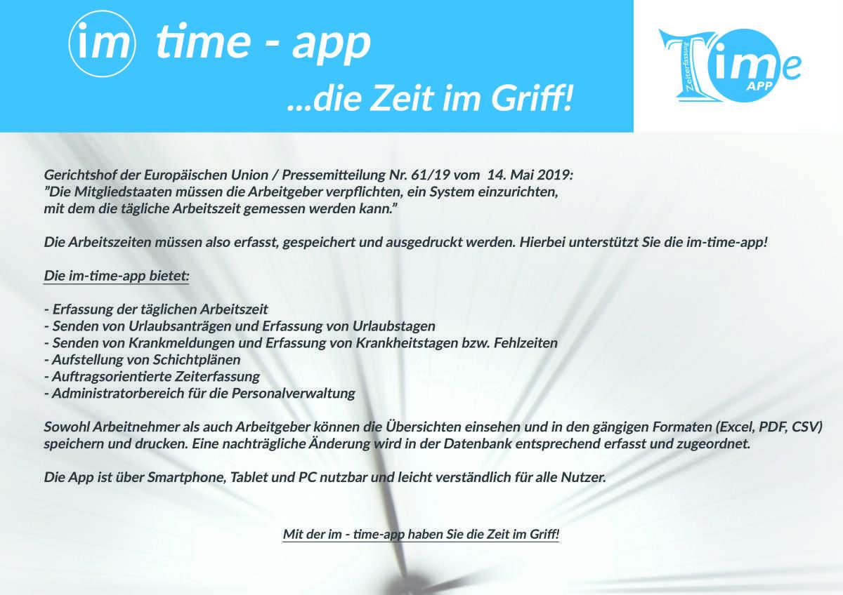 Die im-Time-app - Digitale Zeiterfassung
