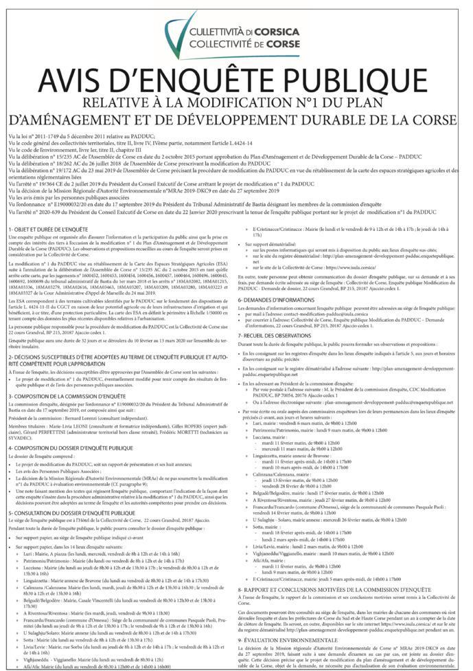 AVIS D'ENQUÊTE PUBLIQUE - Modification PADDUC