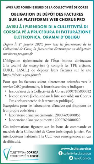 Avisu à i furnidori di a CdC - Avis aux fournisseurs de la Collectivité de Corse et ses offices et agences : Obligation de dépôt des factures sur la plateforme web Chorus Pro