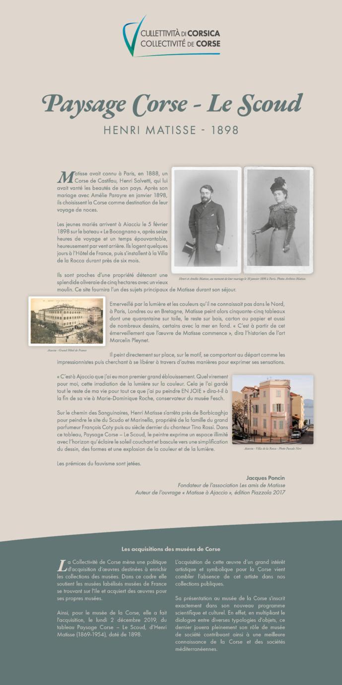 Acquisition d'une oeuvre du peintre Henri Matisse