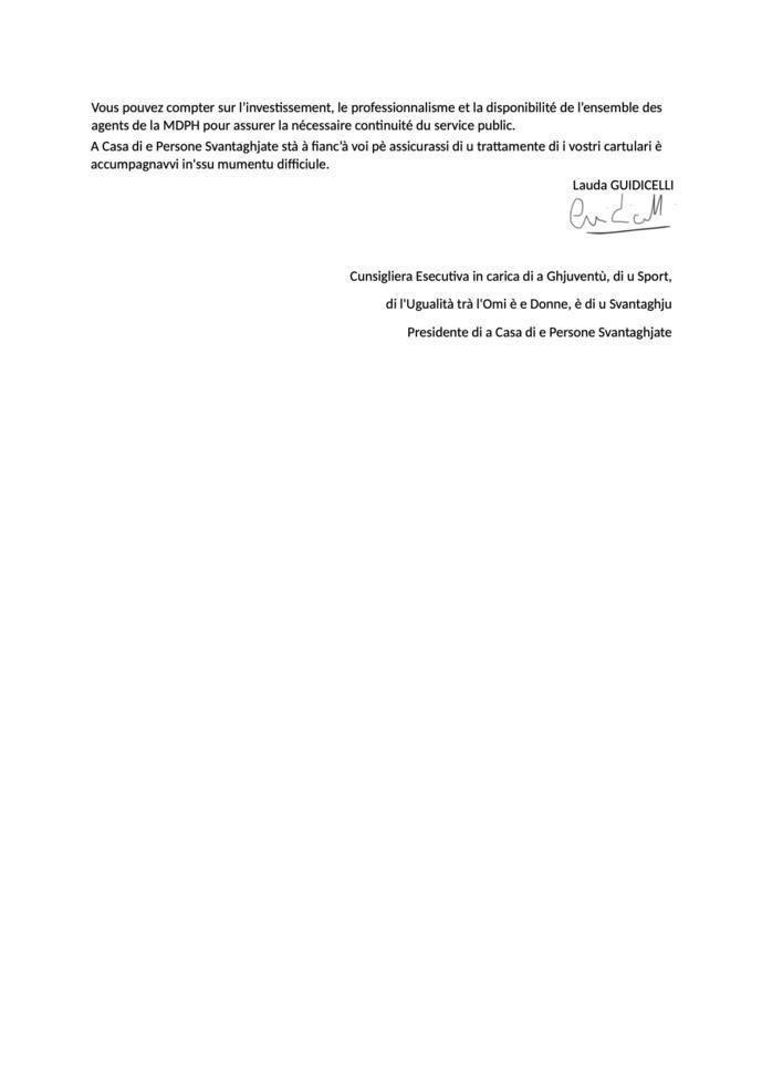 L'accuglienza di u publicu hè suspesa - Suspension de l'accueil du public à la Maison des Personnes Handicapées de la Collectivité de Corse