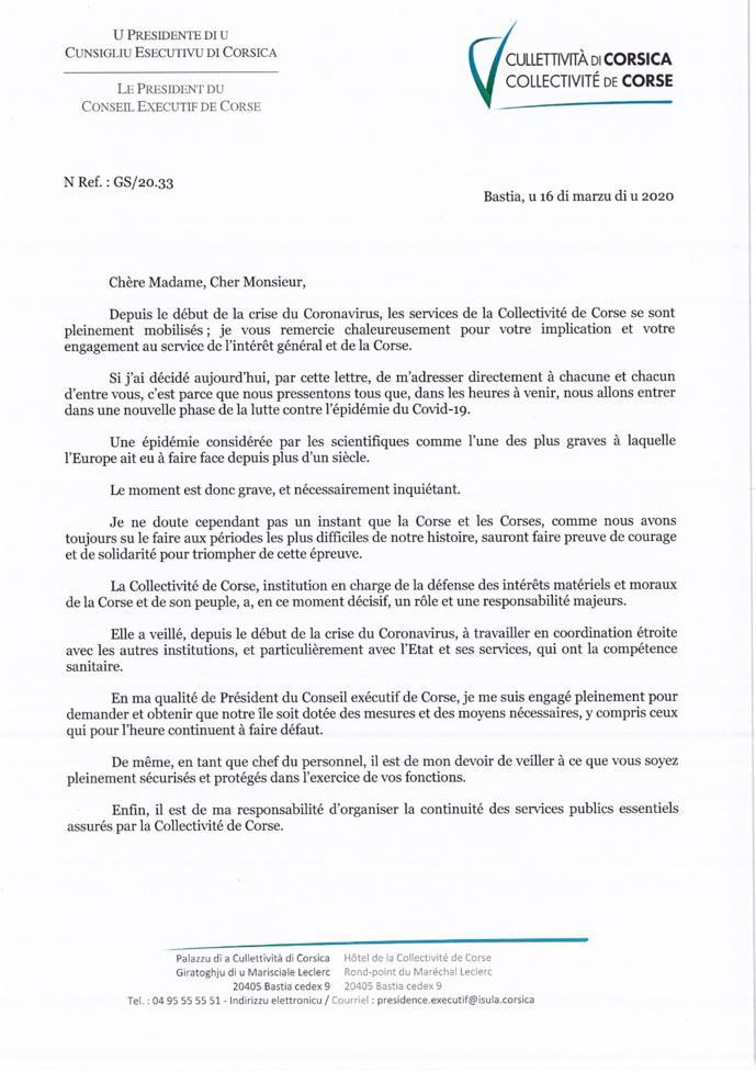 Message aux agents du Président du Conseil exécutif