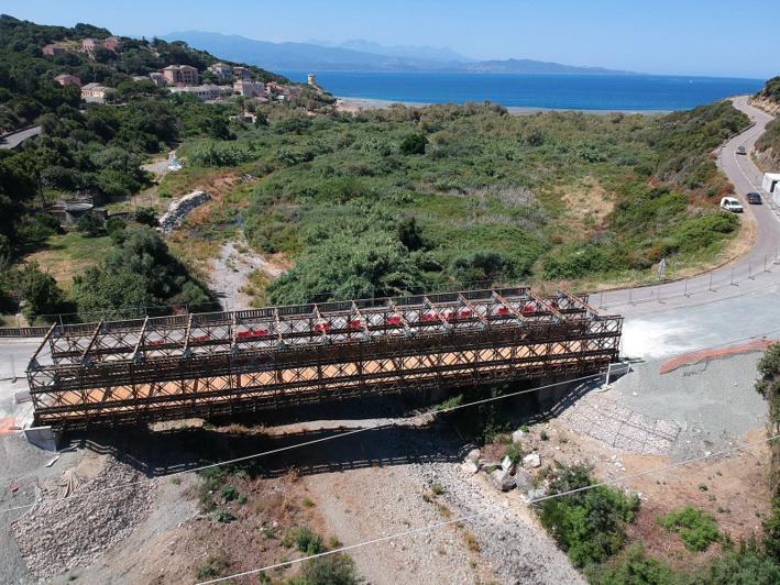RD80 Pont d'Albu, Canari - Ouverture du pont provisoire