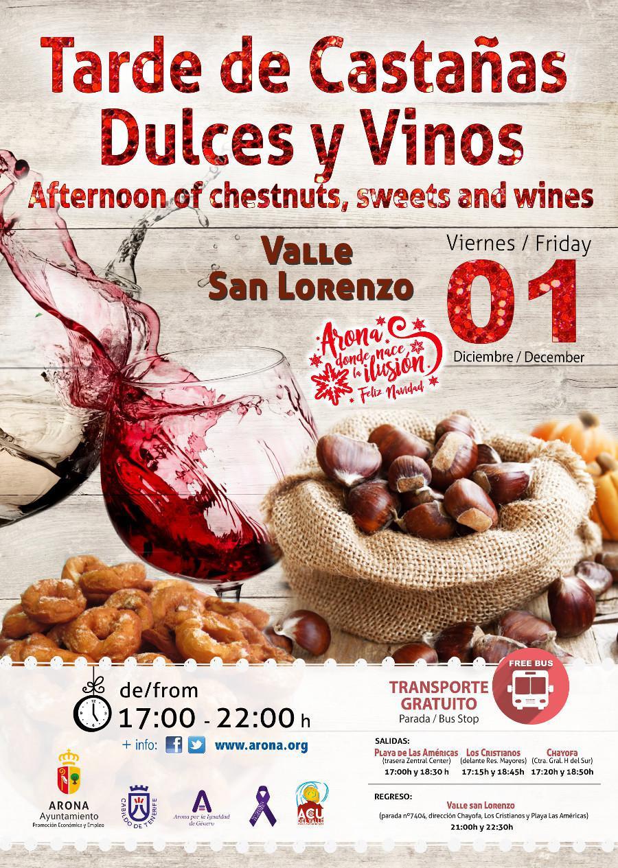 Arona se llena de gastronomía y tradiciones otoñales con la Tarde de Castañas, Dulces y Vinos