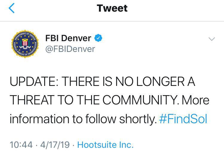 Boulder Police Making the public aware of a potential credible threat - FBI Denver & JCSO continue to investigate