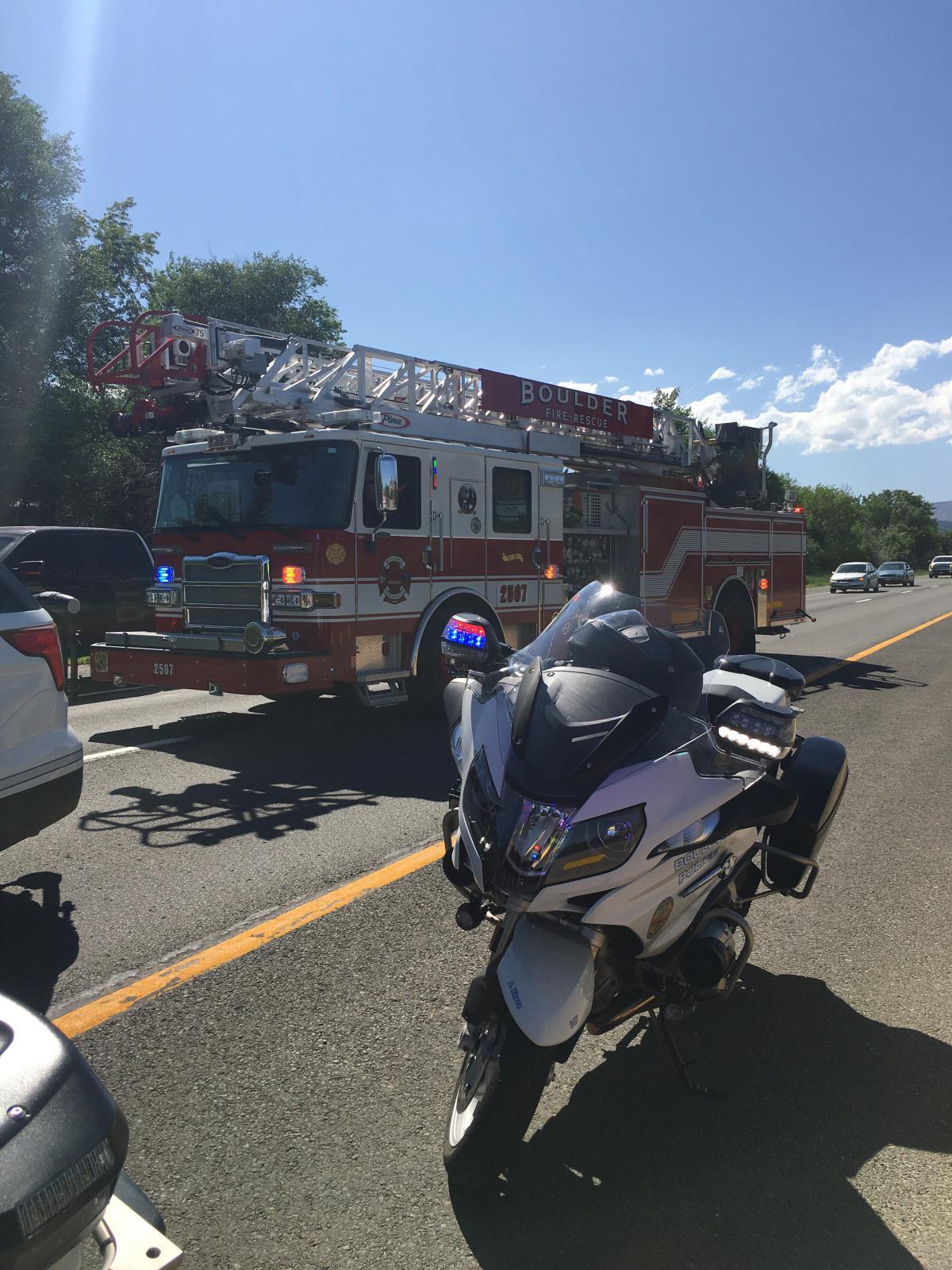 Traffic Alert: Officers investigating a multi-vehicle crash on Denver-bound HWY 36