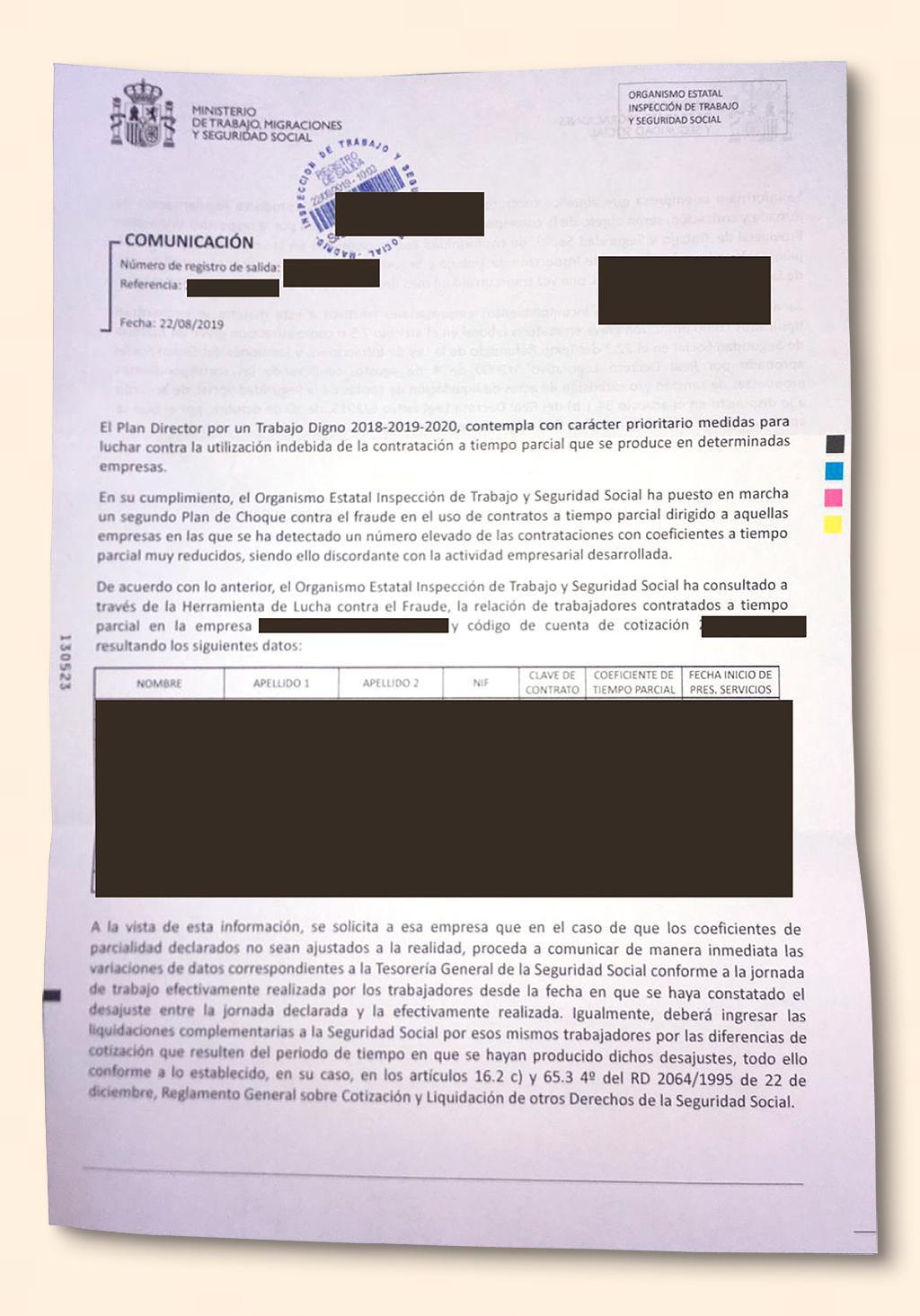 Campaña antifraude de la Seguridad Social, asustan a las empresas para que regularicen sus contratos a tiempo parcial.
