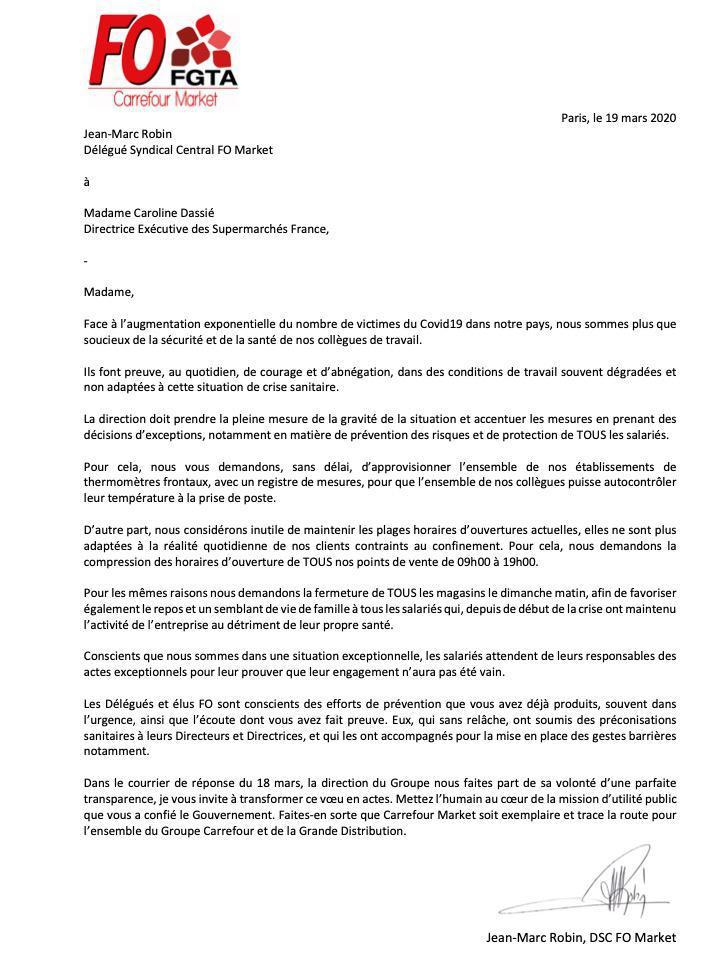 Courrier à Caroline Dassié, Directrice Exécutive Supermarché France du Groupe Carrefour