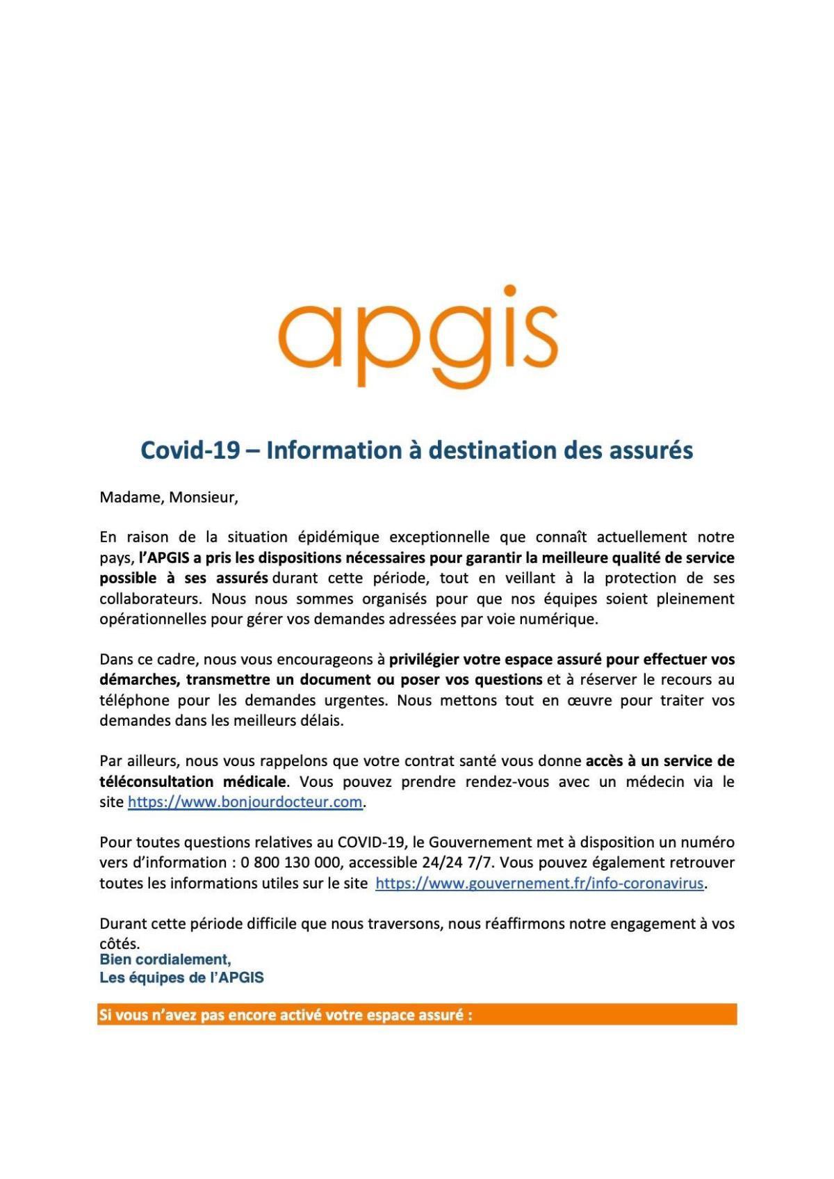 Coronavirus : Communication de l'APGIS