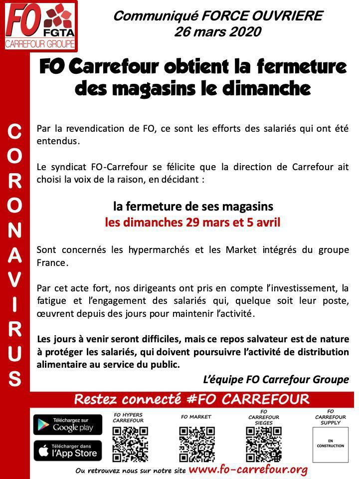 FO Carrefour obtient la fermeture des magasins le dimanche