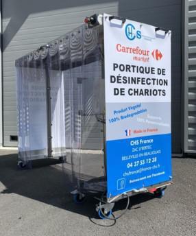 Carrefour s'équipe en tunnel de désinfection pour chariots