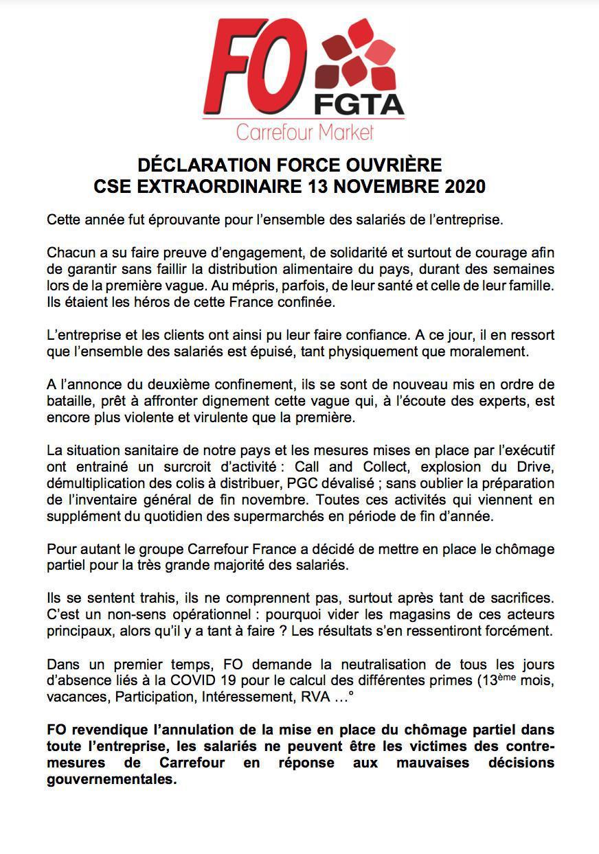 Déclaration FO : réunion CSE extraordinaire du 13 Novembre 2020