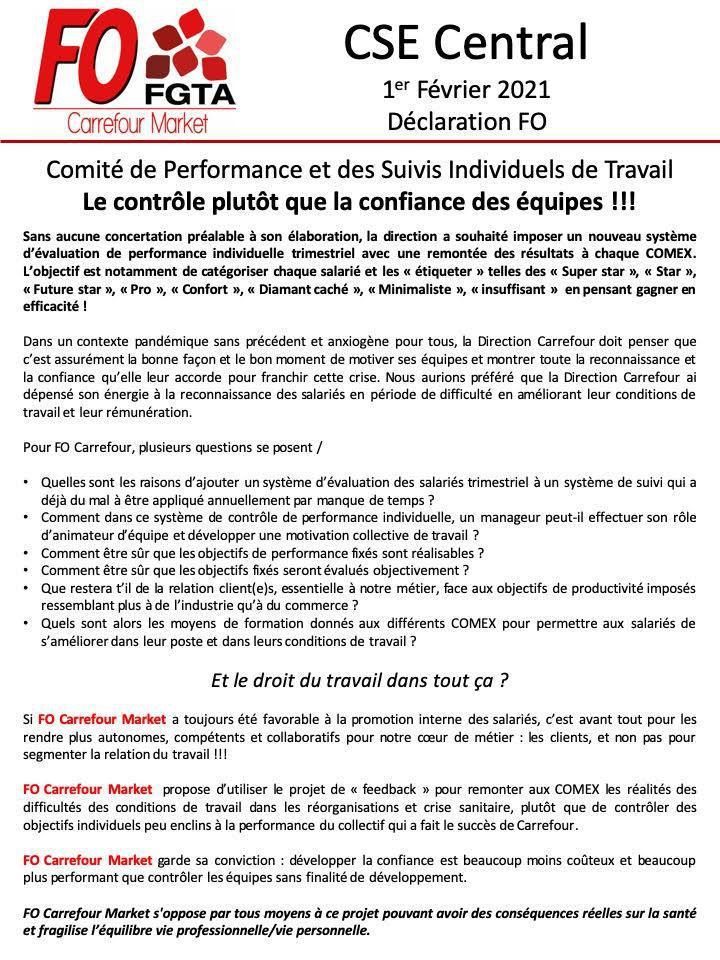 """Déclaration FO CSE Central du 1er février""""Comité de Performance et suivis individuels de travail"""""""