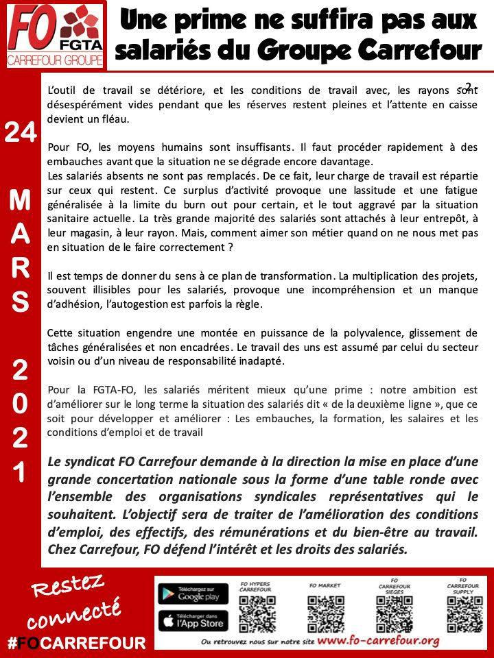 Communiqué FO du 24 Mars 2021