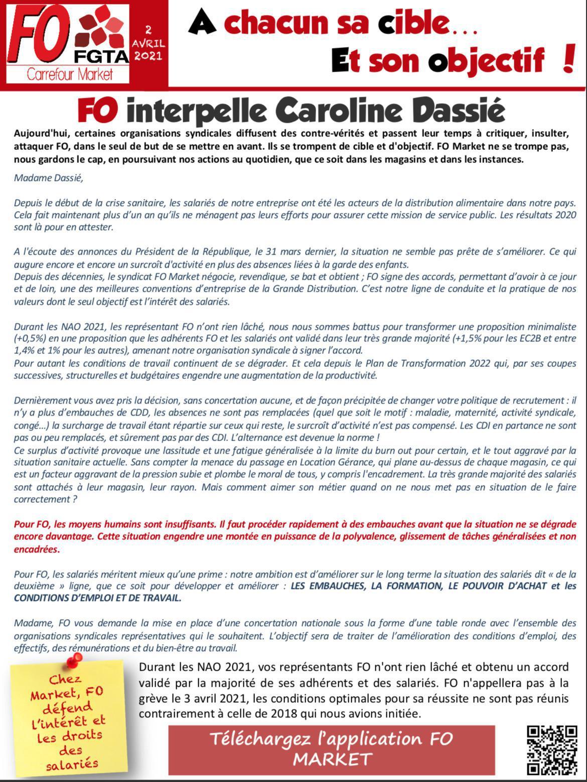 FO Market demande des embauches à Caroline Dassié
