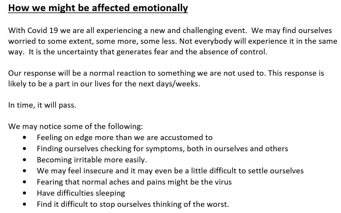 HSE Advisory Note on Mental Health