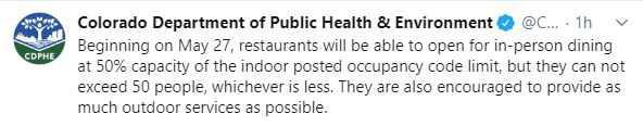 Restaurants can begin opening for dine-in service on Wednesday, under the guidelines published by CDPHE