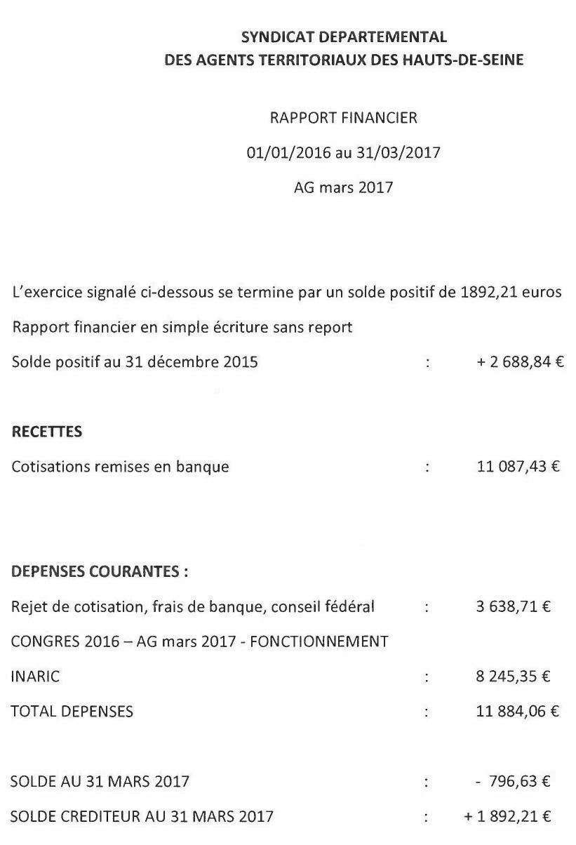 Rapport financier du syndicat départemental CFTC des Territoriaux des Yvelines 2016-2017