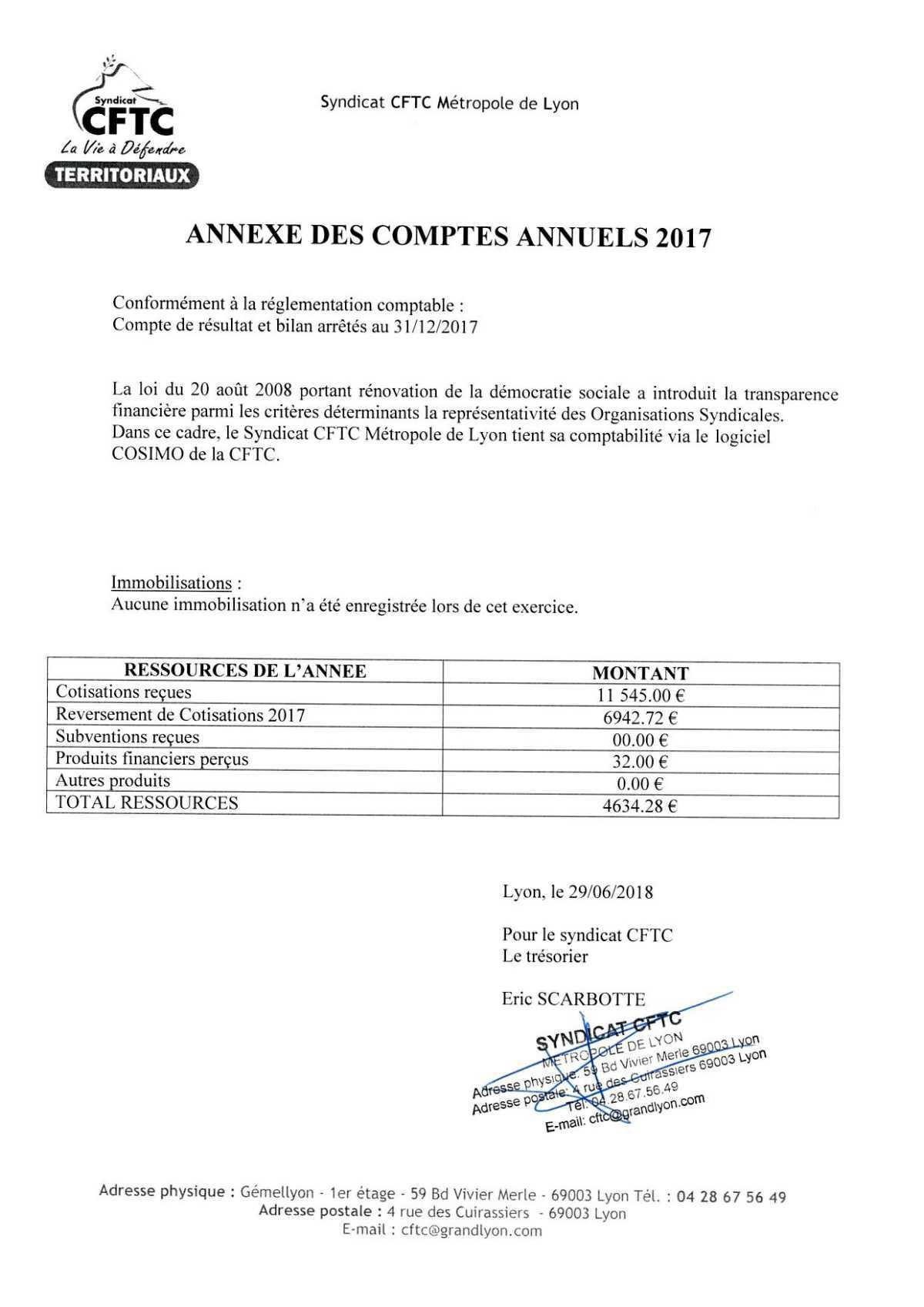 Comptes 2017 Syndicat Métropole de Lyon