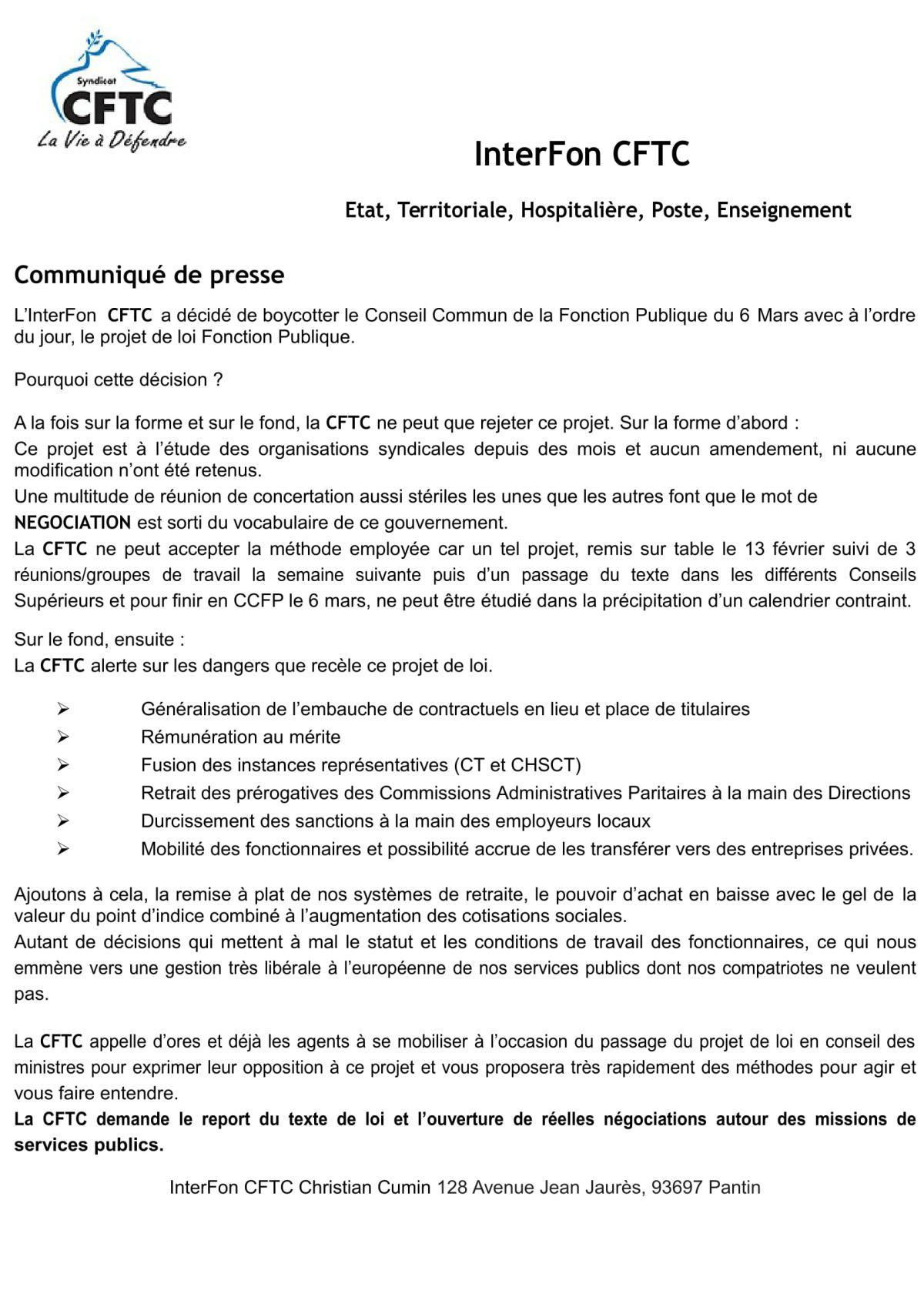 Rappel communiqué de presse INTERFON CFTC