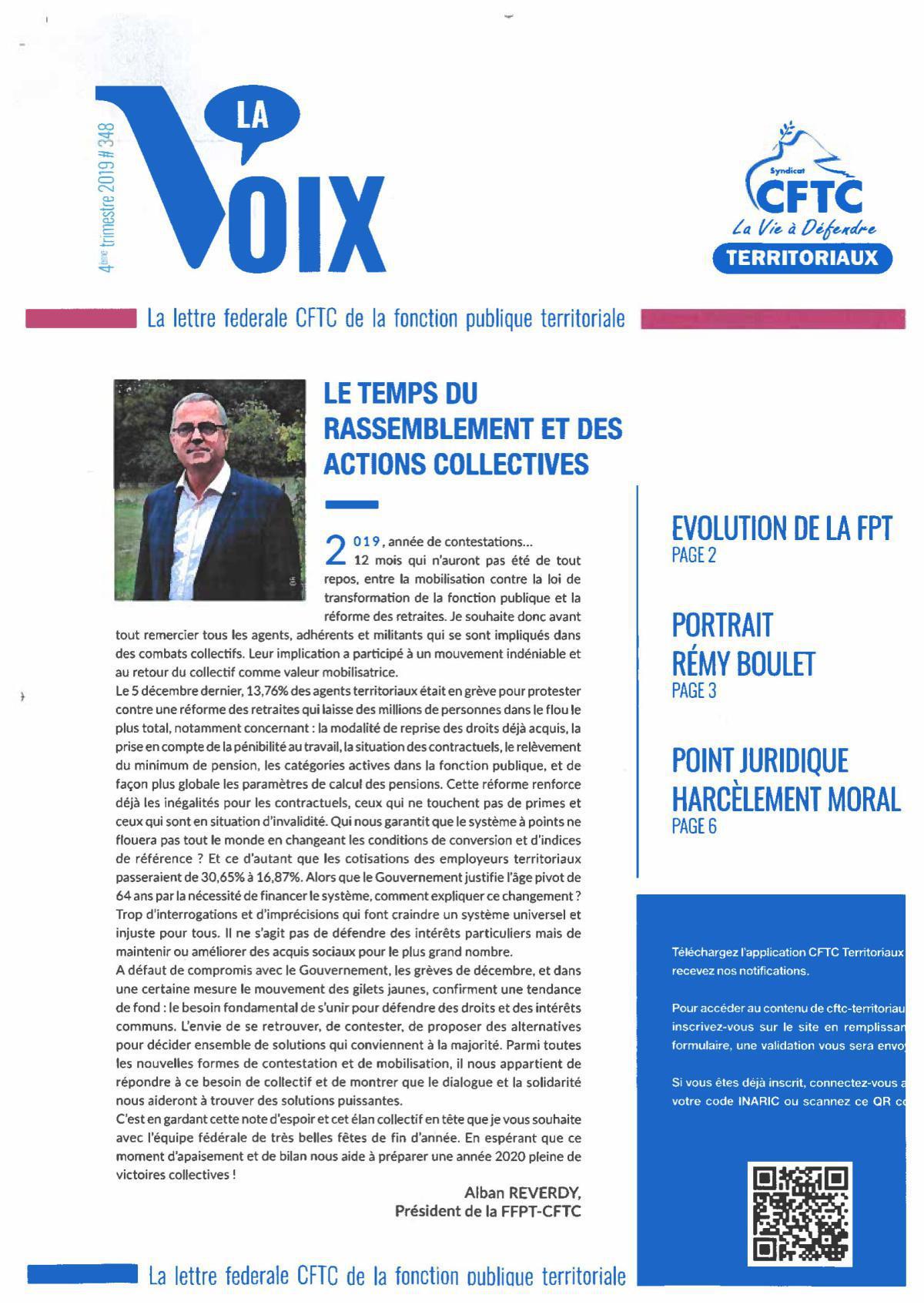 """LA VOIX """"LA LETTRE FÉDÉRALE"""" N° 348 Décembre"""