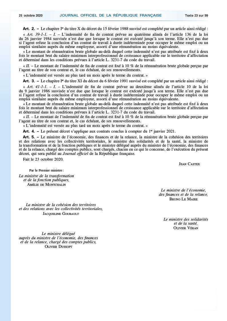 Décret n° 2020-1296 du 23 octobre 2020 relatif à l'indemnité de fin de contrat dans la fonction publique
