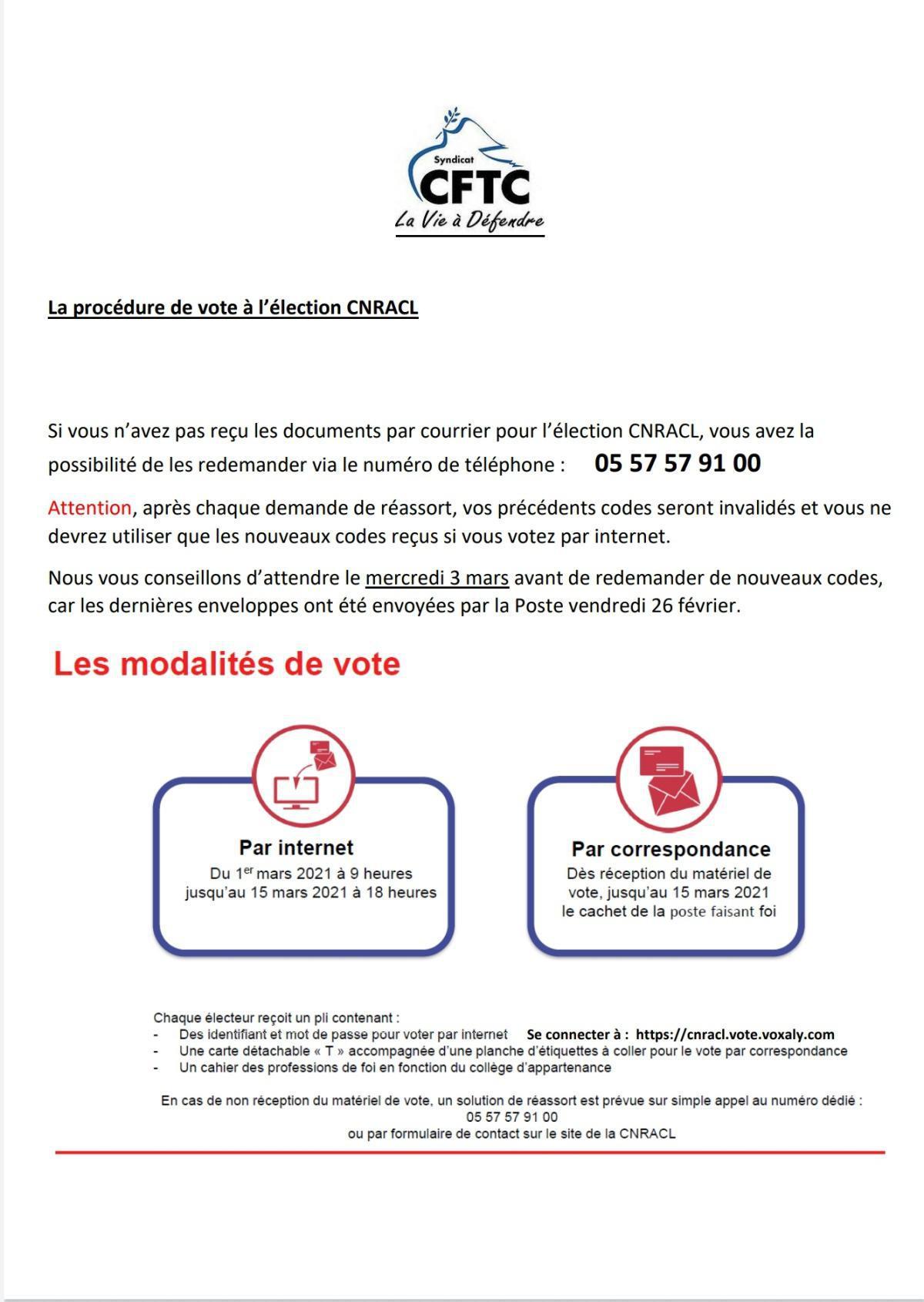 La procédure de vote à l'élection CNRACL