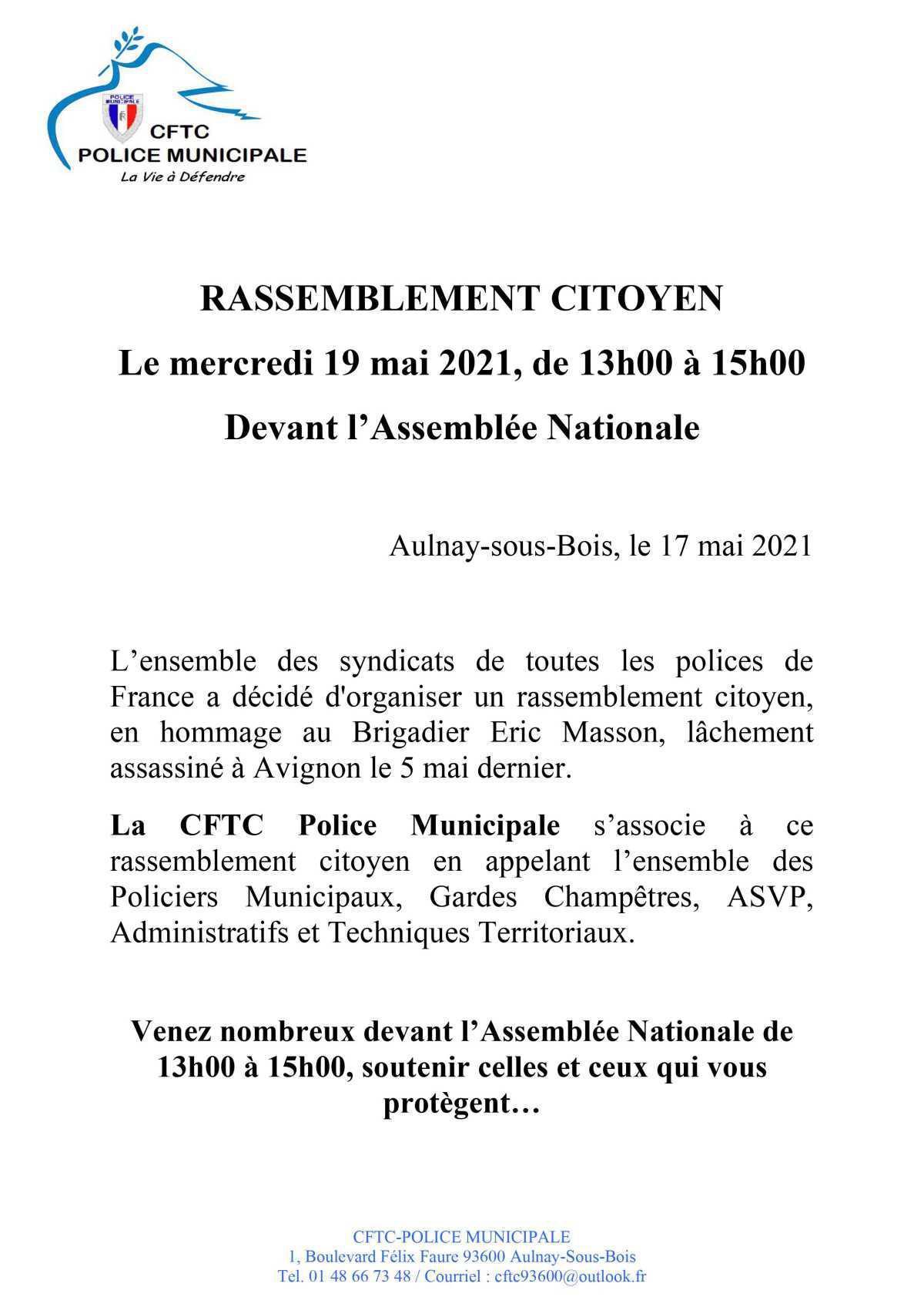 RASSEMBLEMENT CITOYEN Le mercredi 19 mai 2021, de 13h00 à 15h00 Devant l'Assemblée Nationale
