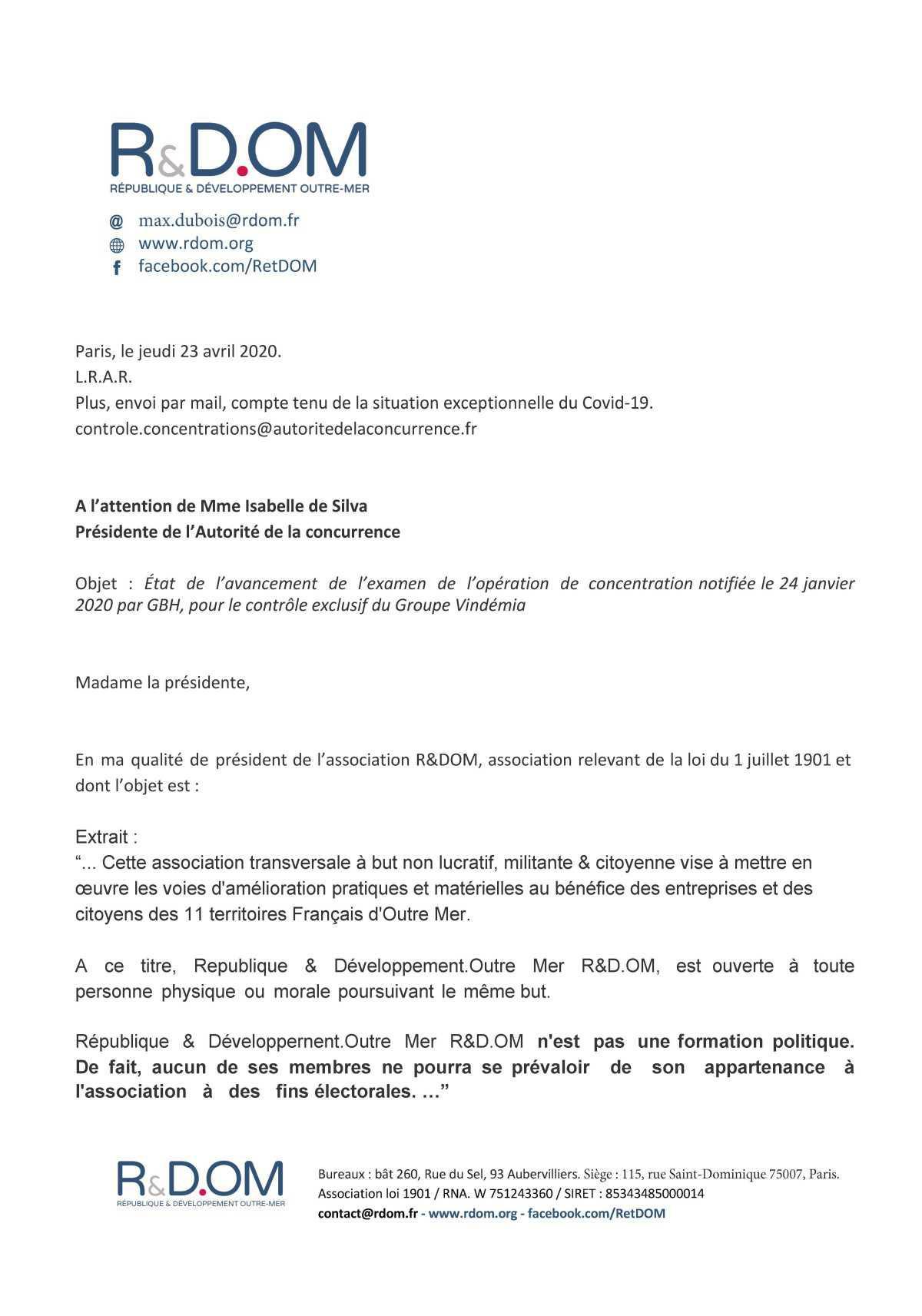 Pourquoi R&DOM s'oppose au rachat de Vindémia par GBH ?