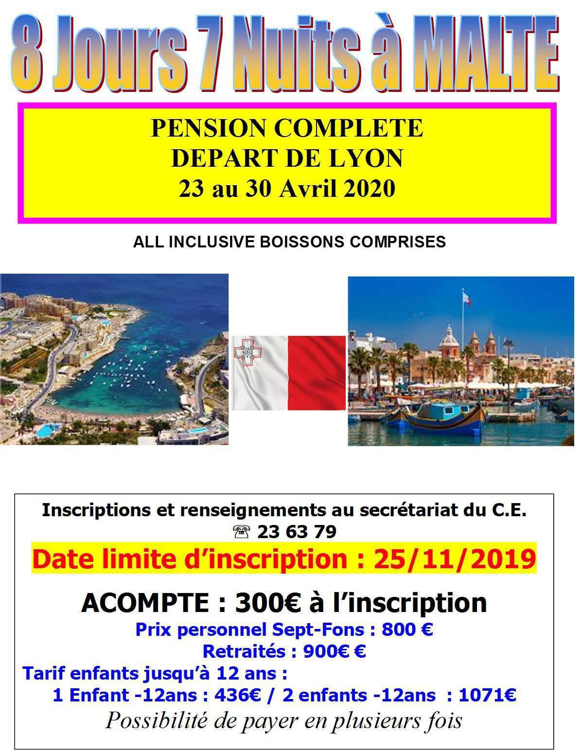 Voyage à MALTE du 23 au 30 avril 2020 >> Les personnes intéressées doivent absolument s'inscrire et confirmer leur participation au séjour à MALTE en AVRIL 2020 avant le 5 Décembre