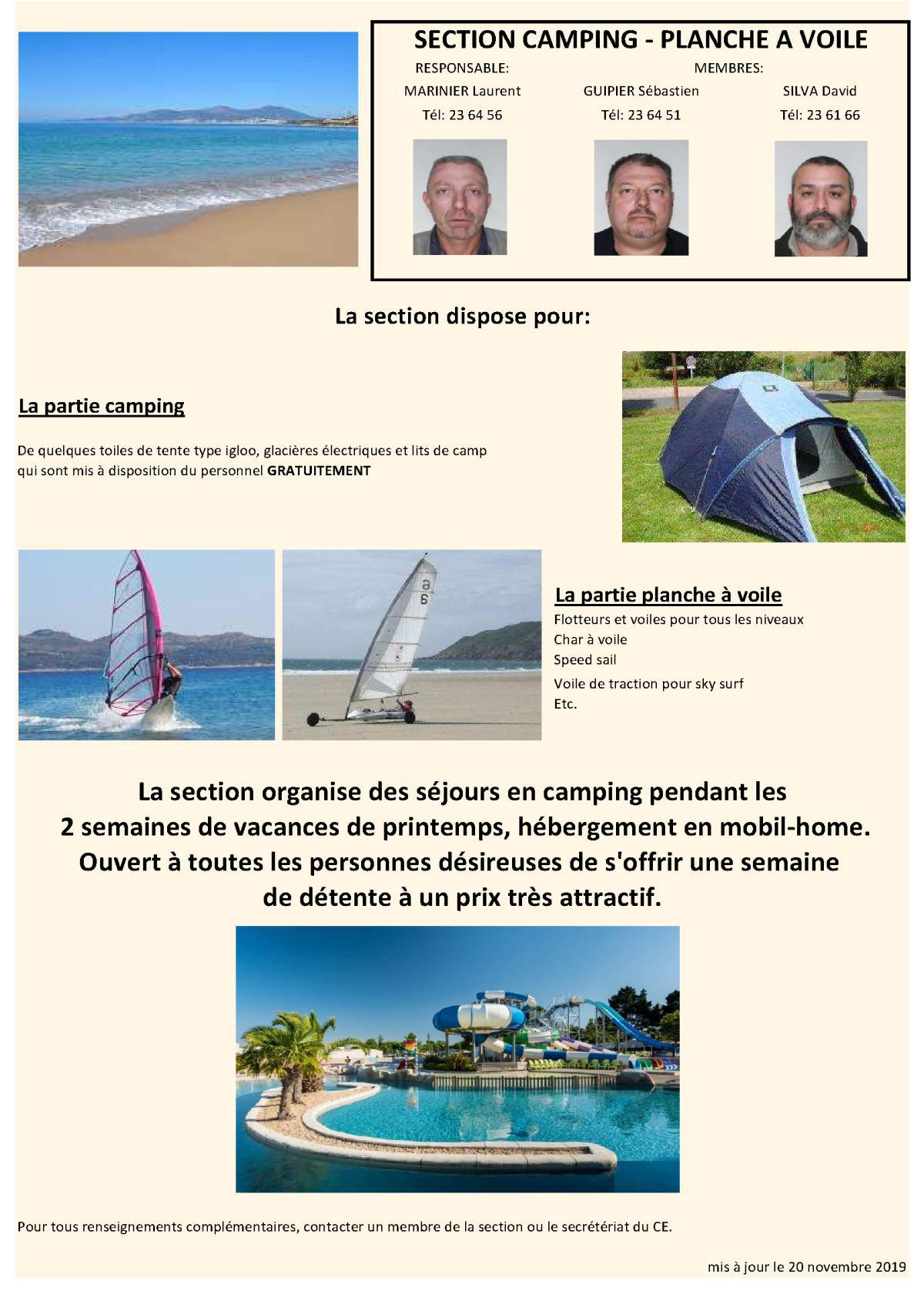 SECTION CAMPING - PLANCHE A VOILE