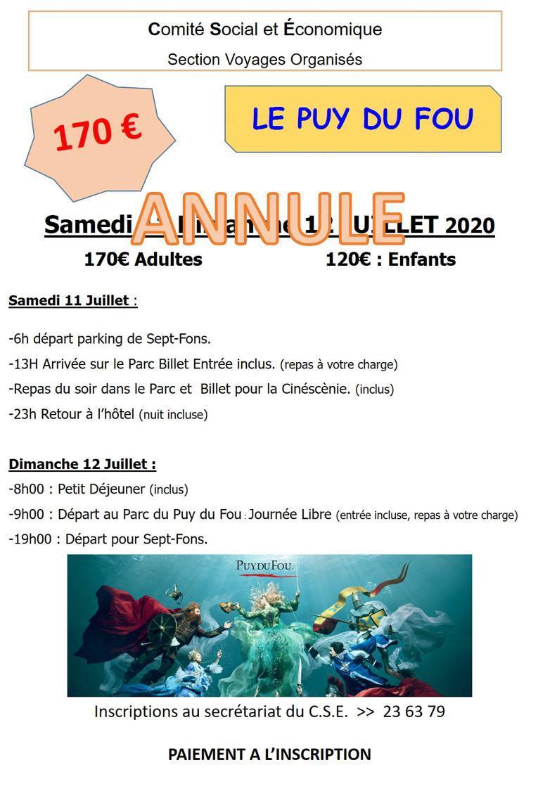 Weekend au PUY DU FOU>> ANNULE