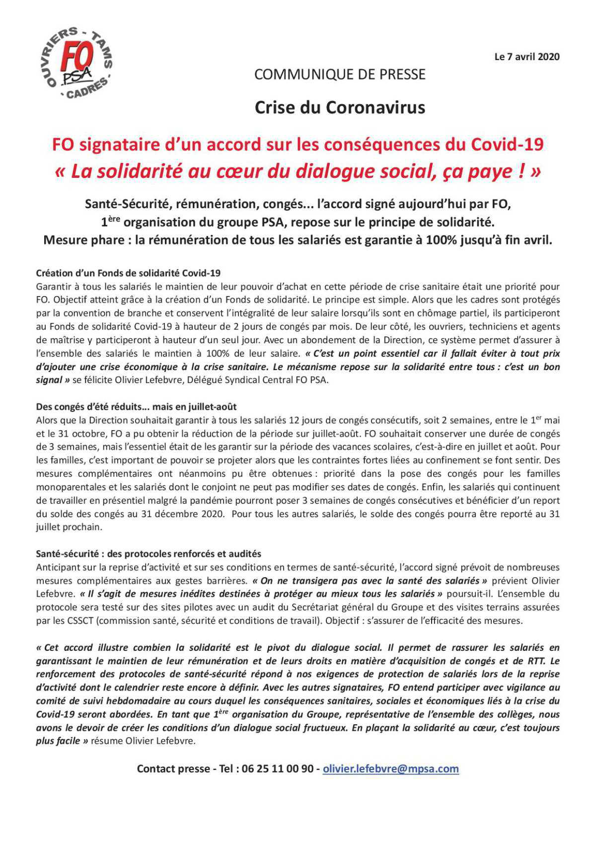 Accord solidarité Covid 19