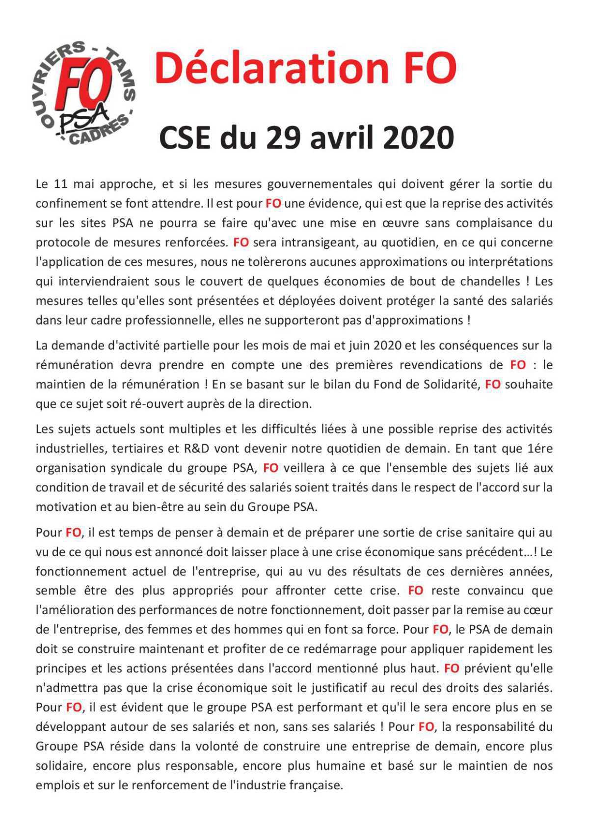 Compte rendu CSE du 29 Avril
