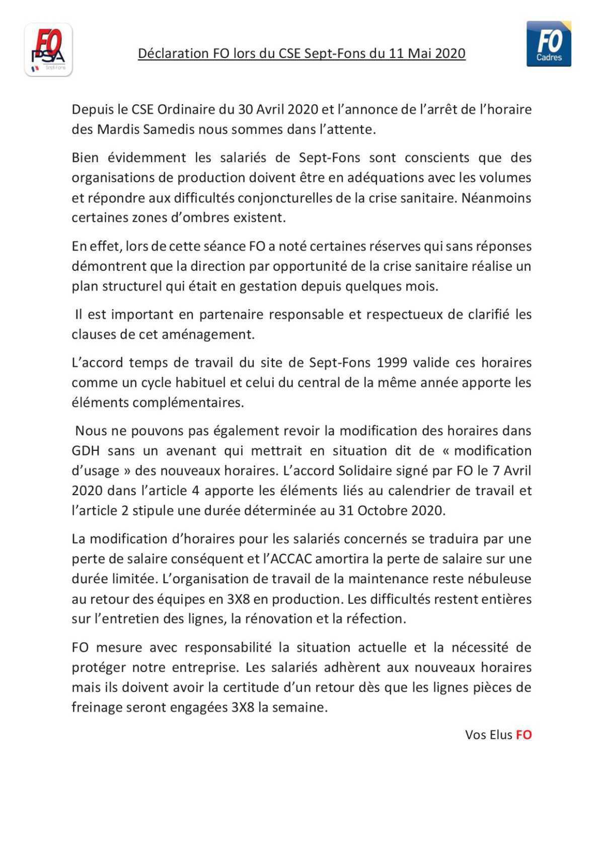 CSE Extra du 11 Mai 2020