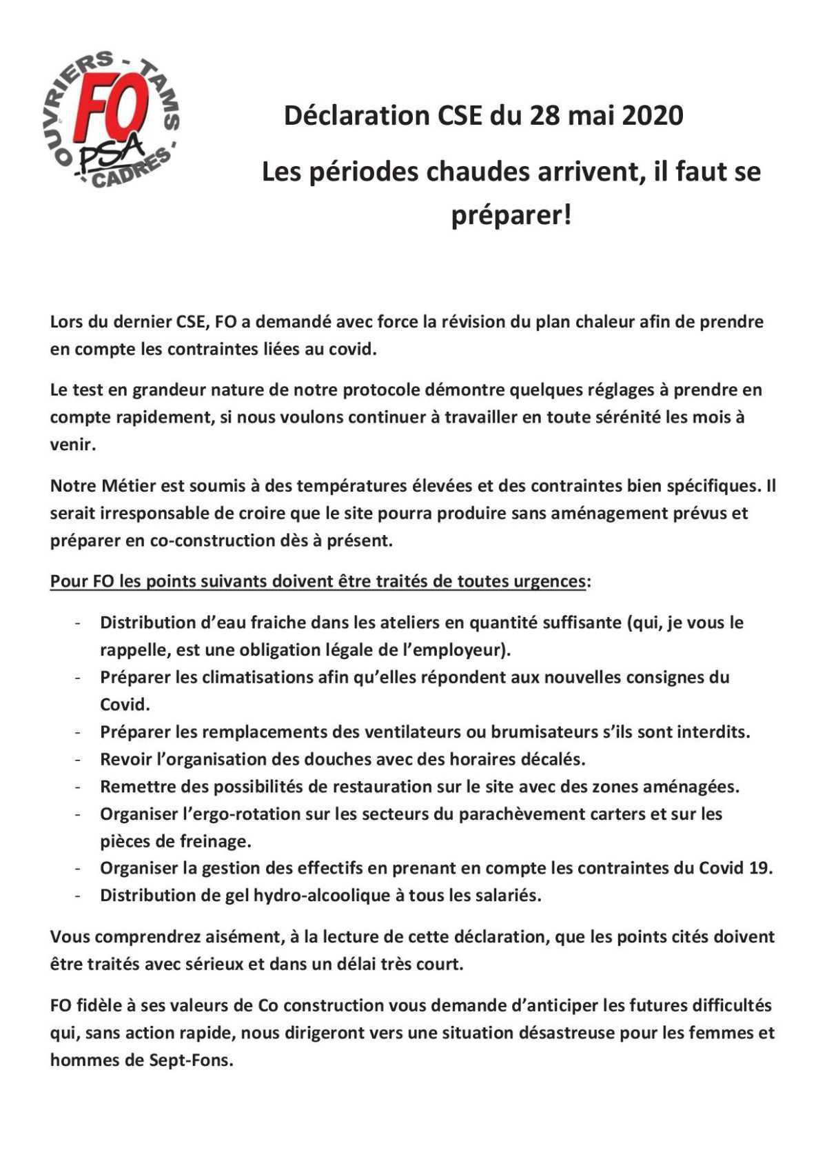 Déclaration FO CSE 28 Mai 2020