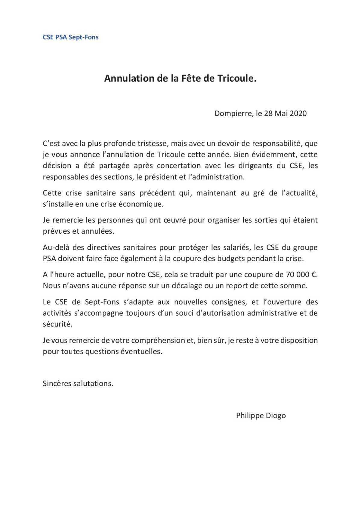 Annulation Fête de Tricoule !