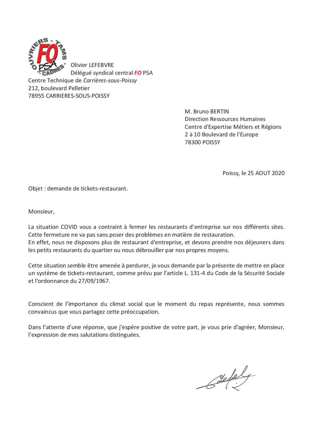 Restauration FO demande des mesures !